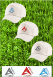 Atomic Bowls Branded Lawn Bowls Bowling White Baseball Cap 3 Coloured Logo's
